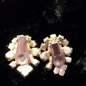 Vintage Jewelry - 1950s clip earrings Aurora Borealis stones